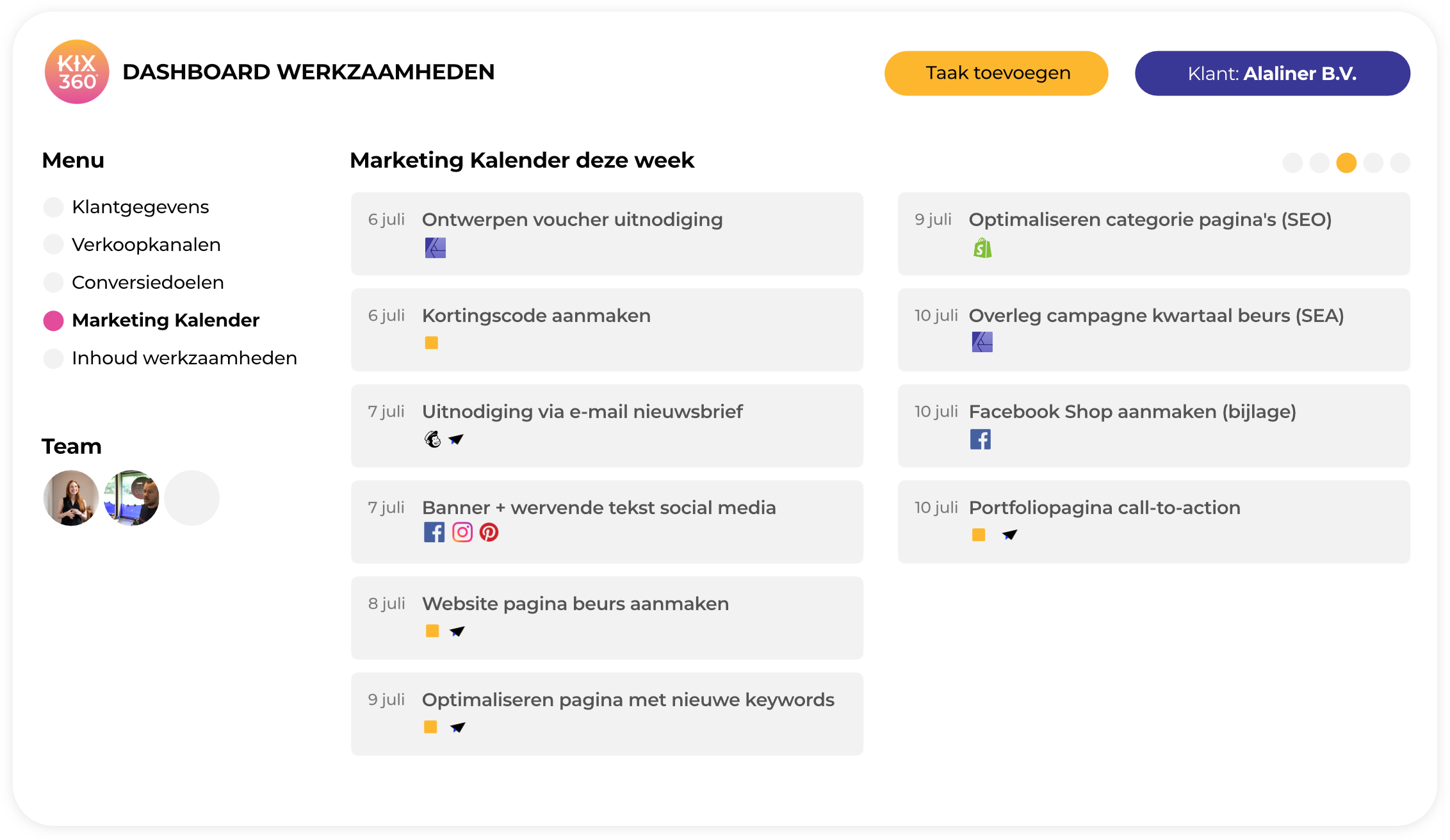 kix360 online marketing dashboard